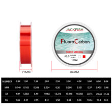 JACKFISH 100M Fluorocarbon Fishing Line  red/clear two colors 4-32LB Carbon Fiber Leader Line  fly fishing line pesca