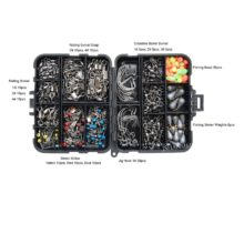 160pcs/box Fishing Accessories Kit Including Jig Hooks fishing Sinker weights fishing Swivels Snaps with fishing tackle box
