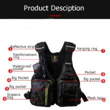 Waterproof Fishing Vest Large size High Life Jacket Multi-Function Multi Pocket Outdoors Sports Fishing Vest