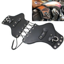 Universal PU Black Leather Heat Saddle Shield Deflectors Raised Studs For Harley Touring Softail Dyna Or Sportster Bikes
