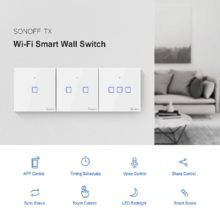 TX SONOFF T0 EU/UK/US 1/2/3 Gang Wall Light Switch Smart Wifi Panel Wireless Remote Touch/Ewelink/Voice Control Google Home